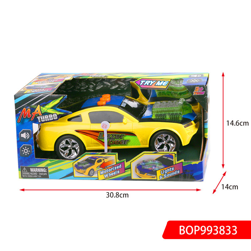 B/O Flashing Car, Include 3x1.5V/AA Environmental Protection Battery Operated Car