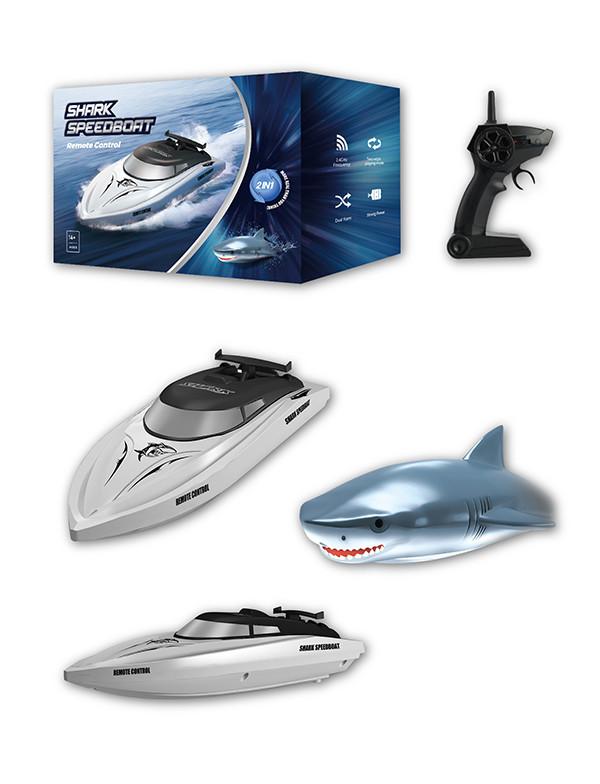 2 in 1 simulation shark remote control boat